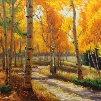 Autumn Road 30x40 Original LARGE Oil Painting Impressionism Fall Autumn Aspens Birch trees by Carl Bork