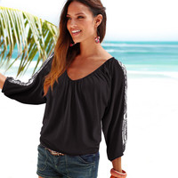 V-Neck Lace Sleeves Ruched Tops