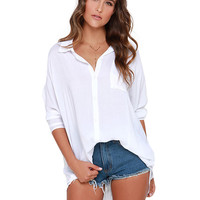 Convertible Collar Long Sleeve Blouse
