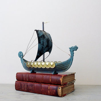 Vintage Brass Norge Viking Ship Decor - Vintage Iron Art Danish Norse Viking Ship Model