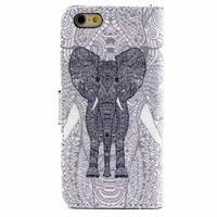 Hight Qulity Ethnic Minorities Elephant Print PU Leather Case Cover Wallet for iPhone 6 / iPhone plus