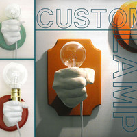 Hand Holding Bulb Wall Lamp (Custom)