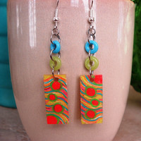 Sunny Day Ocean Bubbles Shrinky Dink Earrings