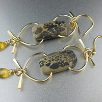 Free Form Wired Brown Yellow Stone Earrings 14k Gold fill Handmade