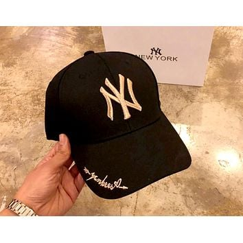 NY Tide brand hat small letter embroidery men and women baseball cap Black