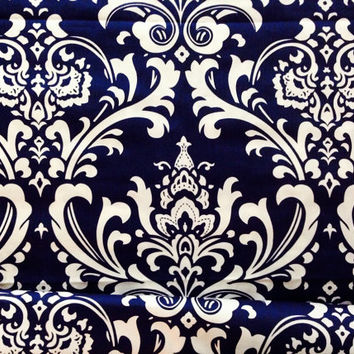 Decorative-Accent Body Pillow Cover - Approx 20 X 54 inch Traditions White on Navy Blue Damask-Free Domestic Shipping