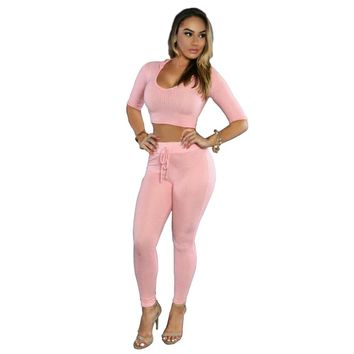 Two Piece Set Women Jumpsuits Half Sleeve With Hat