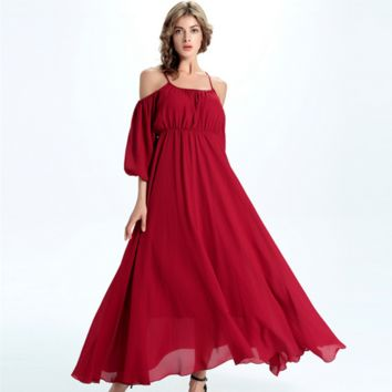 Fashion Solid Color Strap Strapless Middle Sleeve Chiffon Maxi Dress