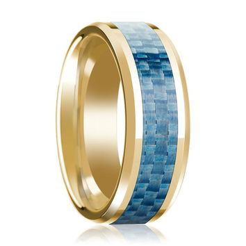 14K Yellow Gold Wedding Band with Blue Carbon Fiber Inlay Beveled Edge Polished Ring