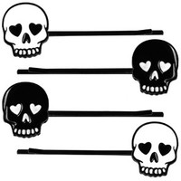 Black & White Skull Hair Clips / Bobby Pins