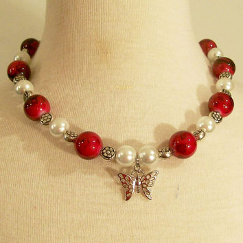 Red White and Silver Necklace-Girl-Children--#345
