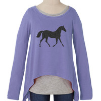 Sharkbite tee with black glitter horse graphic | The Lacey with Black Glitter Horse Graphic Print | Fashion For Girls - FashionPlaytes