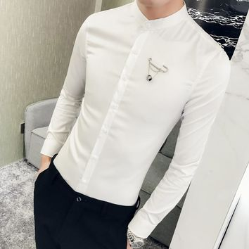 British Style Men Solid Shirt High Quality Stand Collar Simple Business Shirts Mens Slim Fit Long Sleeve Tuxedo Shirt Dress 2XL