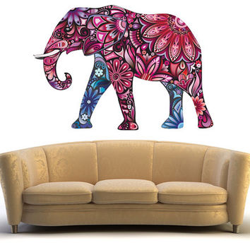Elephant wall sticker, nursery wall art elephant wall decal, pink elephant decal wall decor removable vinyl animal abstract colorful [FL071]