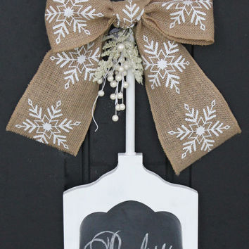 CHALKBOARD Sign - Write your own greeting - Christmas Decoration - Winter Signage - Snowflake Burlap Bow - Personalize -Wreath Alternative