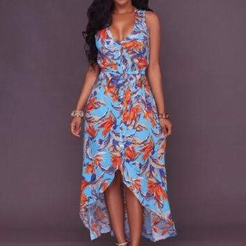 Blue Floral Double-Layered Women's Maxi Dress