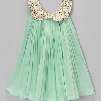 "The ""Lucinda"" Chiffon Gold Sequin Collar Girls Dress in Mint Green"