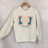Vintage sweatshirt California spring seashell tourism 80's Fruit of the Loom Made in USA L Iron on decal cotton fleece soft