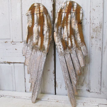Wood carved Angel wings wall hanging Rusty white dramatic distressed shabby farmhouse wing set gold pewter home decor anita spero design