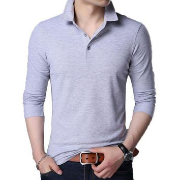 VONE05WA Men Polo Shirt 2018 Spring Mens Polo Shirts Long Sleeve Mens Tops & Tees Brands Camisa Polo Masculina Chemmise Famous Hombre 3XL