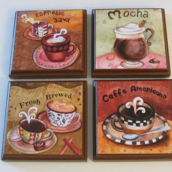 Coffee Kitchen Room Wall Plaques Brown Frame   Set Of 4 Colorful Coffee  Room Decor
