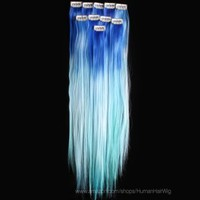 Pandahill 18inch 6 pcs Synthetic Ombre Dip Dyed Hippie Hair Extension Clip in (WGY57 Blue / Sky Blue / Light Blue)