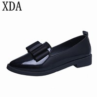 XDA 2018 Classic Shoes Women Casual Pointed Toe bowknot Oxford Shoes Women Flats Comfortable Slip on Women Shoes F10
