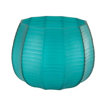 Stacked Cuts Glass Low Vase Teal