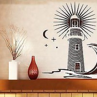 Wall Vinyl Sticker Decal Beacon Signal Light Sea Wave Night Moon Stars Unique Gift (n240)