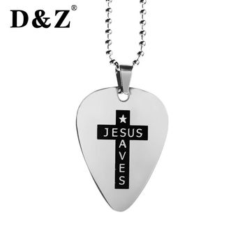D&Z Silver Color Guitar Pick Pendant Men Stainless Steel Chain Love Heart ID Dog Tags Cross Pendants & Necklaces Jewelry