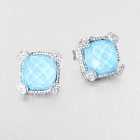 Turquoise, White Sapphire and Sterling Silver Cushion Earrings