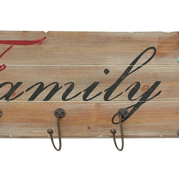 Family Themed Floral Metal Wooden Wall Hook Panel