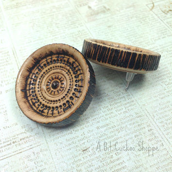 Wooden Mandala Earrings- Wooden Tribal Earrings- Yoga Earrings- Universe Earrings- Pyrography Earrings- Pyrography Jewelry
