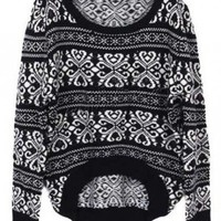 @Free Shipping@ Women Asymmetrical Black Knitting Sweater One Size HF11600b from Voguegirlgo