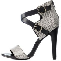 Black/White Textured Crisscross Ankle Strap Heels by Charlotte Russe