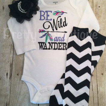 Be Wild and Wander Bodysuit or shirt, legwarmers, and black headband Set can be customized