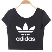 """""""Adidas""""Letter Print Solid Cotton Round Neck Chic Crop Top Tee"""