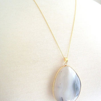 Luxurious Striated White Agate Necklace, Large Teardrop Pendant, 14kt Gold Necklace, 18 inch Gold Chain, Long Pendant