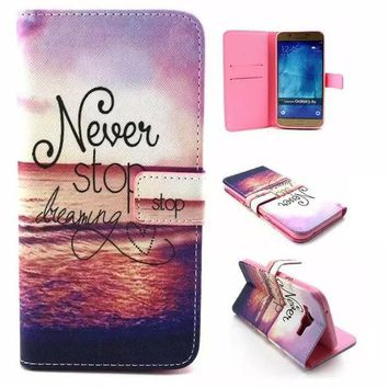 Unique NEVER STOP DREAMING Leather Case Cover Wallet for iPhone & Samsung Galaxy-170928