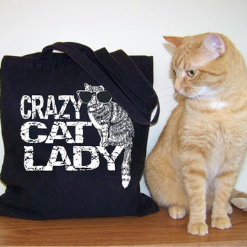 Mothers Day Crazy Cat Lady Tote Cotton Canvas Market Shopping Bag in seven great colors