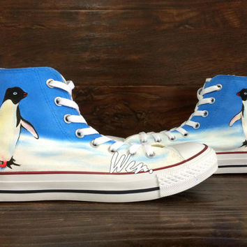 Penguin Converse Penguin Shoes Unique Hand Painted Shoes Converse All Star Canvas Shoes Birthday Gifts Christmas Gifts WEN Original Design