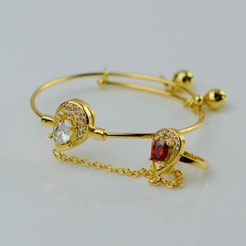 Cubic Zirconia Baby Bracelet With Gold Bell  Gold Plated CZ Bangle for Kids Fashion Jewelry With Stone #049506