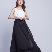 High Waist Bridesmaid Skirt Chiffon Maxi Skirts Beautiful Elastic Waist Summer Skirt Floor Length Women Skirt (301) ,black