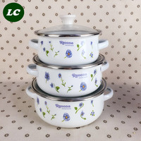 free shipping cooking tools enamel casserole pots set mini kitchen utensil with glass cover