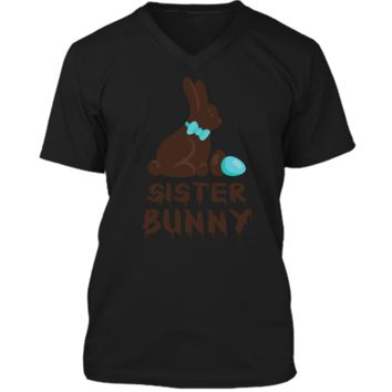 Chocolate Easter Sister Funny Bunny Family Couples T Shirt Mens Printed V-Neck T