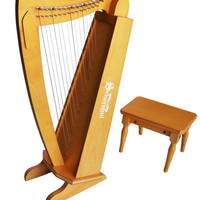 Schoenhut's 15 String Harp w/ bench (Cherry)
