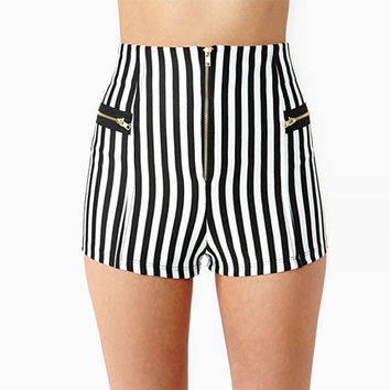 Vertical Stripe High-Waist Zipper Shorts