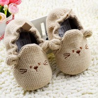 Cute First Walker Cartoon Mouse Crib Shoes Baby Kid Elastic Mice Soft Sole Slip-on Shoes 0-18 Months