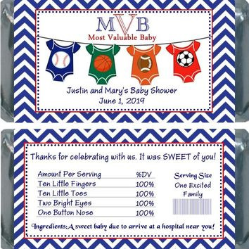 10 All Star Sport Baby Shower Chocolate Bar Wrappers