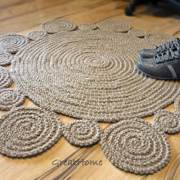 Flower design 100cm Rug by natural jute